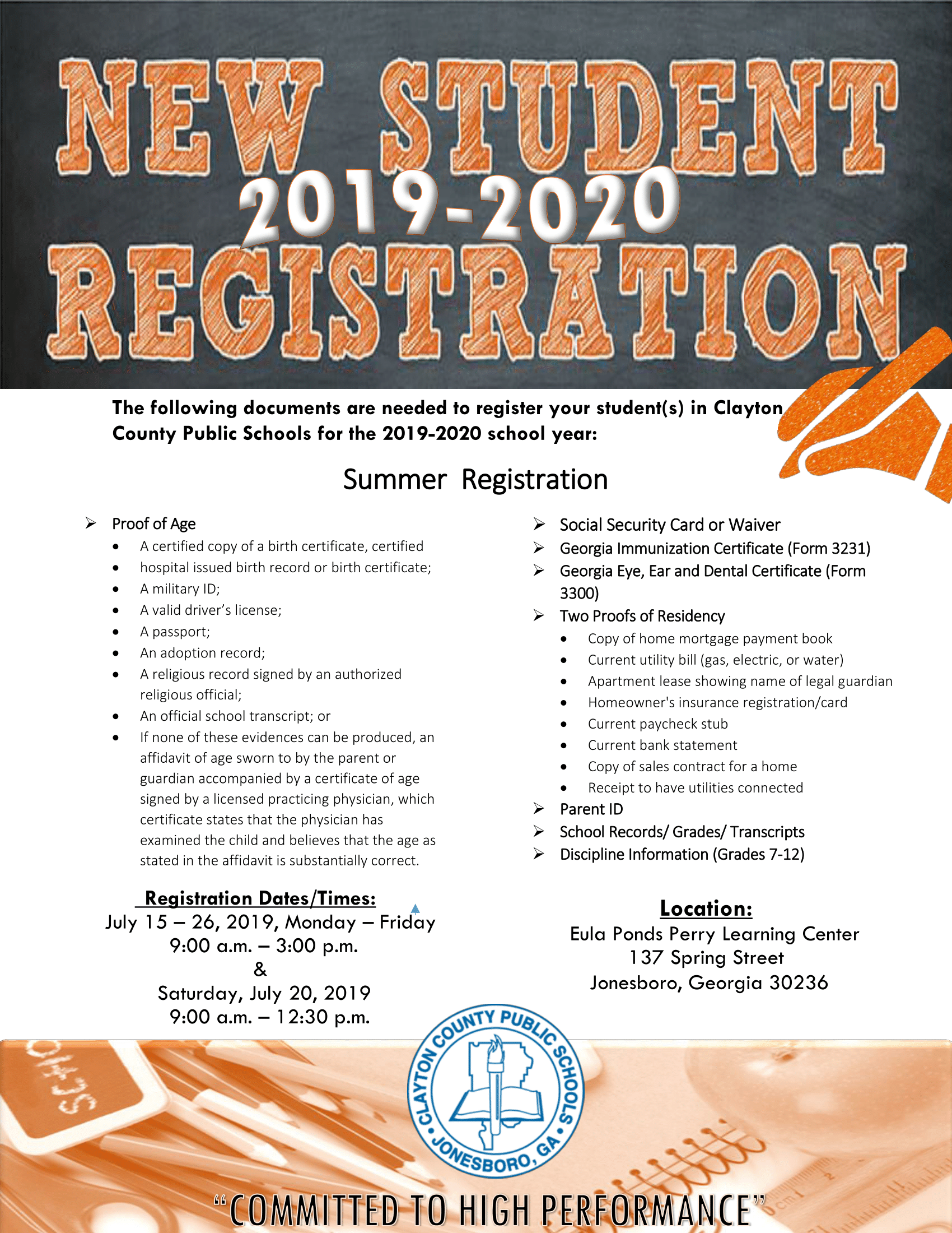 Summer 2019-2020 New Student Registration