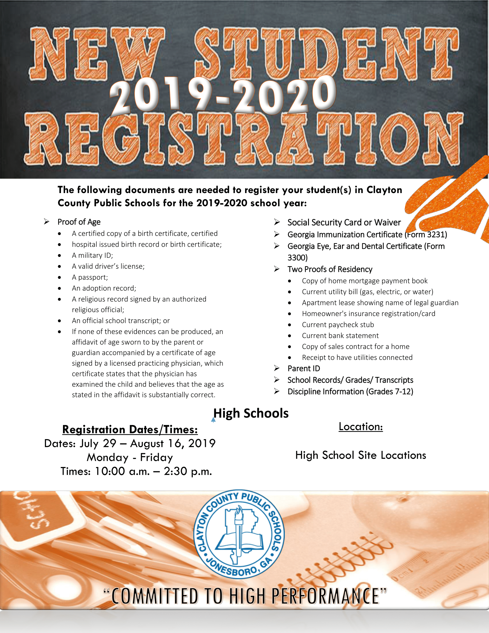 20192020 High School New Student Enrollment