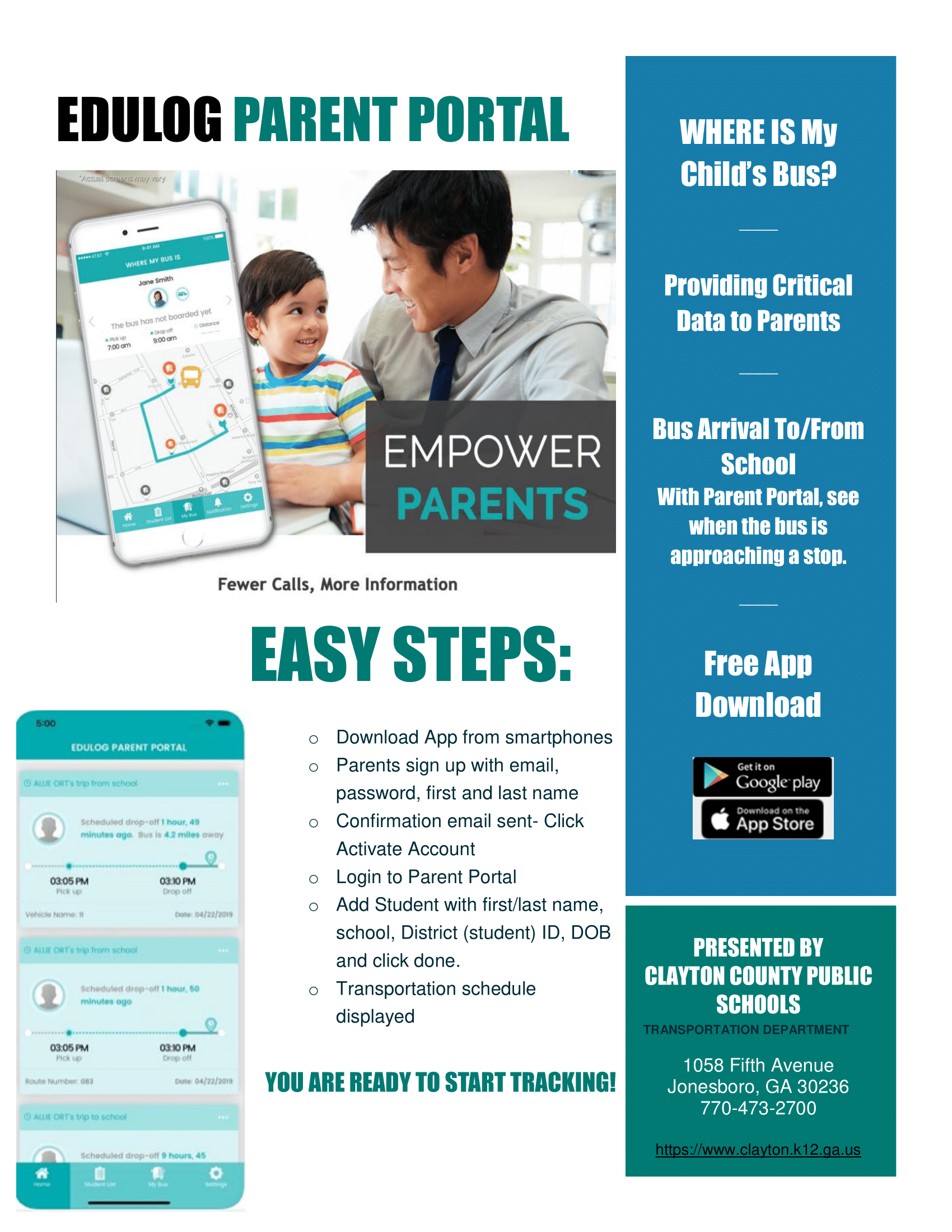 Edulog parent portal flyer