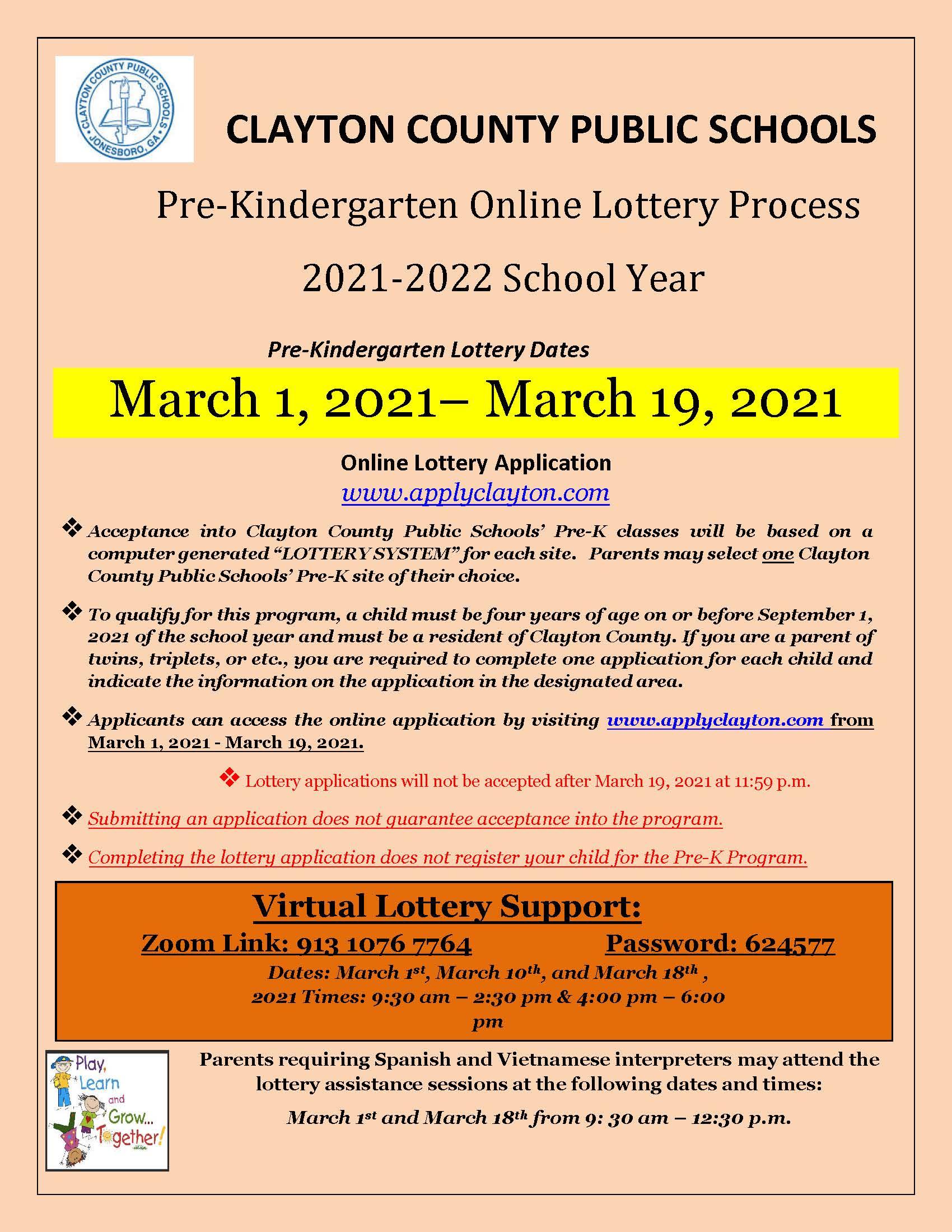 2021 - 2022 Pre-K Registration Flyer